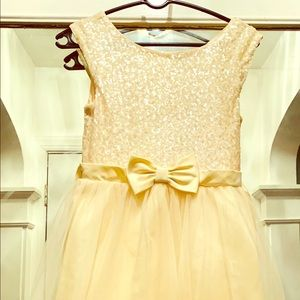 Zunie yellow girls dress/ sequins tulle Sz 14